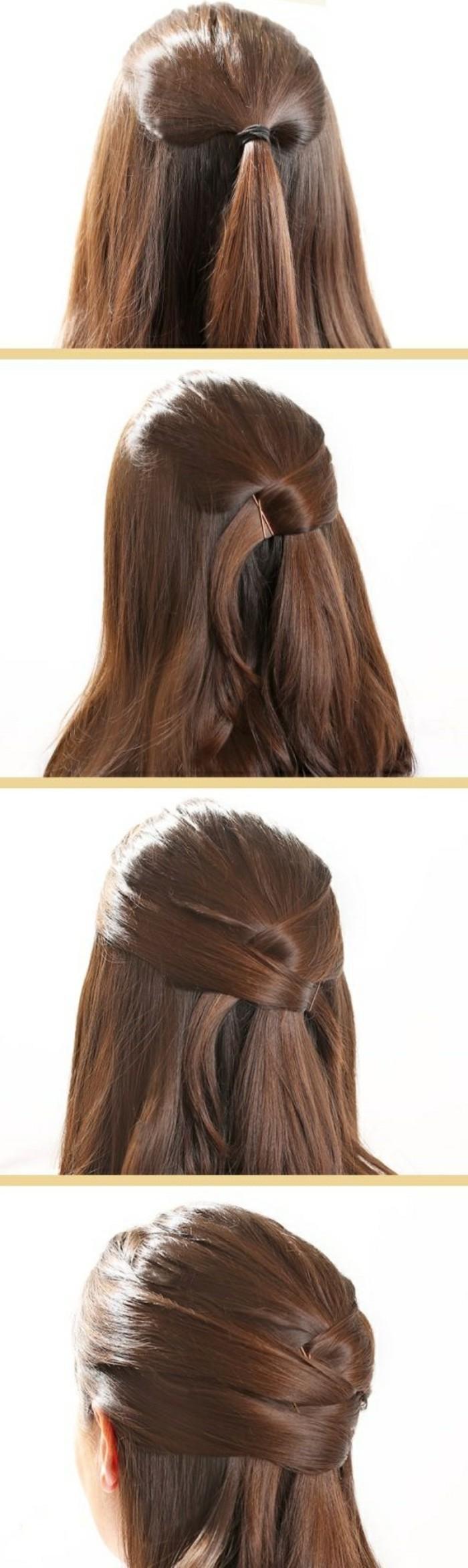 demi queue de cheval avec des mèches croisés en arrière de la crâne, coiffure facile a faire soi meme