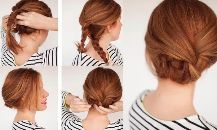 tutoriel pour faire un chignon bas à partir de trois tresses, tuto coiffure cheveux mi long à coloration rousse