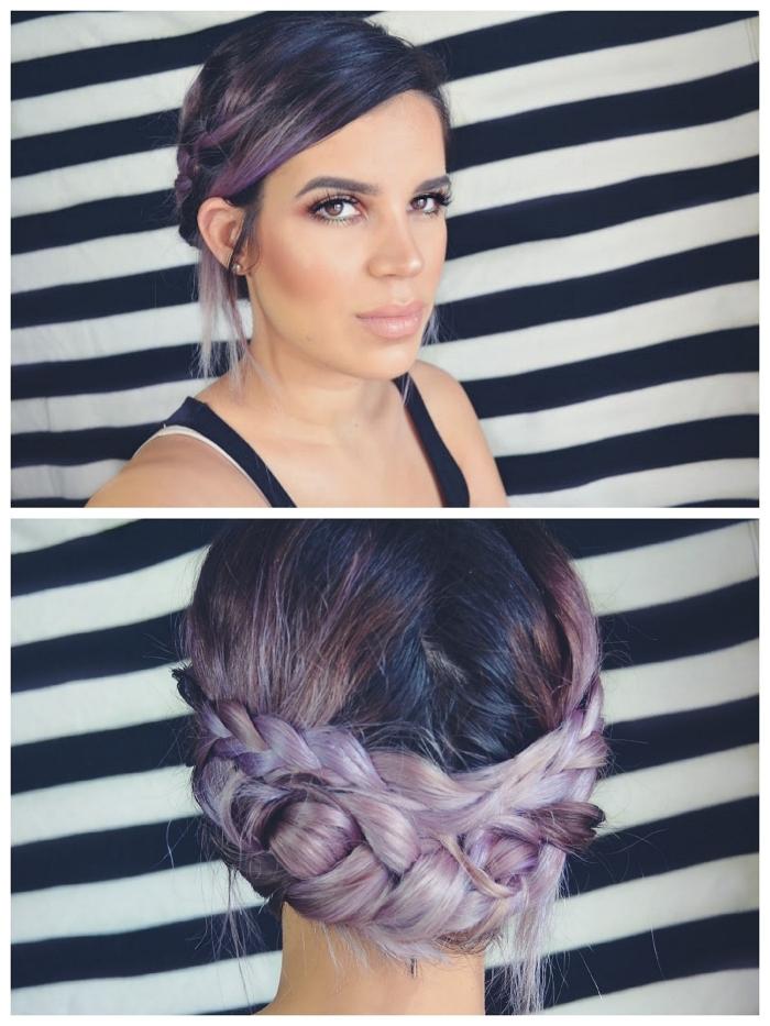 couleur de cheveux tendance 2019, chignon avec tresse bohème chic sur cheveux violet, coloration violette sur cheveux noirs