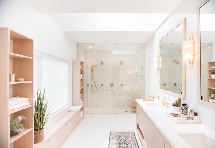 Bois rose nuance moderne salle de bain blanche, la plus belle salle de bain en bois et blanc