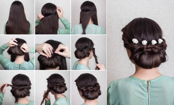 coiffure mariage femme originale avec chignon bas accessoirisé de quelques fleurs blanches décoratives, mèches latérales entrecroisées