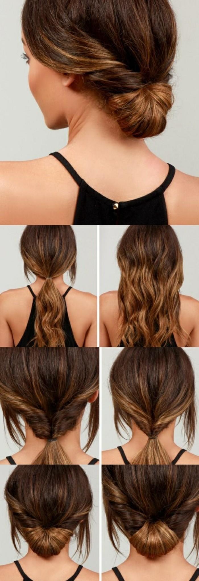 tuto coiffure cheveux long, chignon bas réalisé à partir une queue de cheval, mèches encadrant le visage