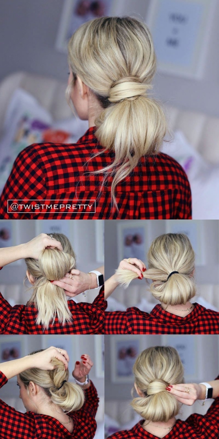 tutoriel pour faire un chignon bas femme facile à partir une queue de cheval, coiffure facile a faire soi meme
