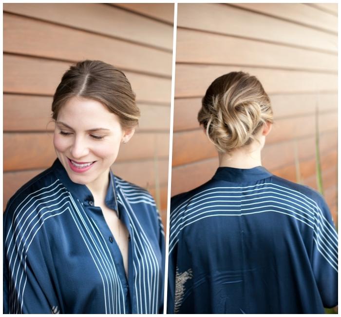 chignon banane volumineux sur cheveux chatain clair, modele de coiffure boheme chic femme, coiffure facile cheveux mi long