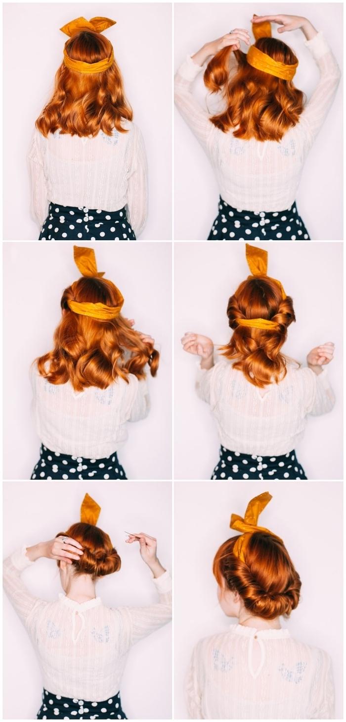 tuto chignon enroulé avec foulard noué sur le haut de la tête, idée de coiffure vintage avec frange droite et foulard