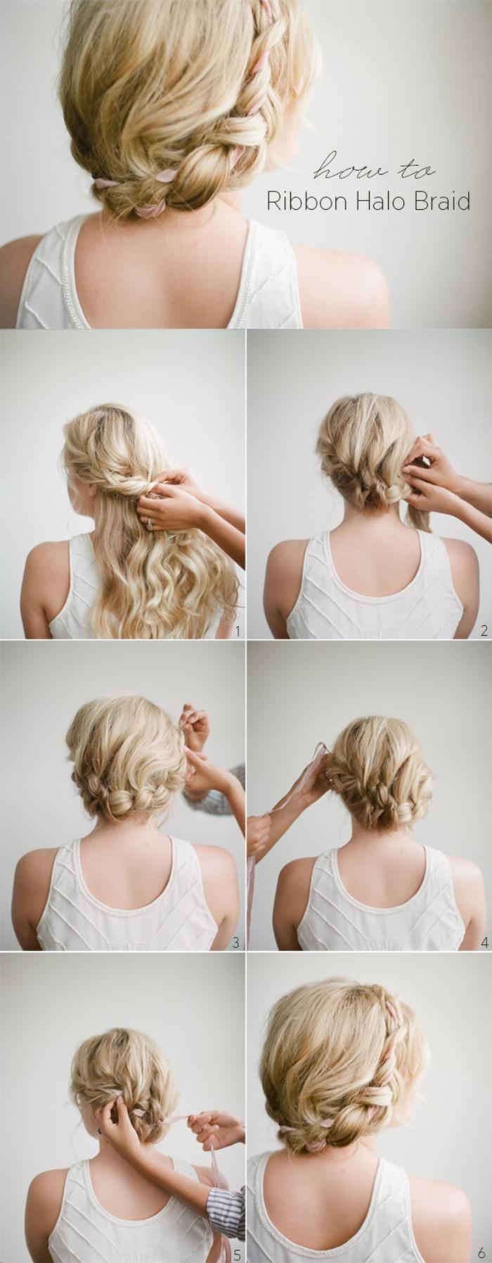 tutoriel facile et rapide pour faire un chignon avec tresse et ruban rose, idée de coiffure romantique pour mariage ou une autre occasion spéciale