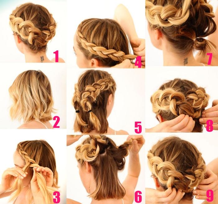 idée de chignon cheveux court réalisé avec deux tresses, tutoriel pour faire une tresse couronne sur cheveux courts