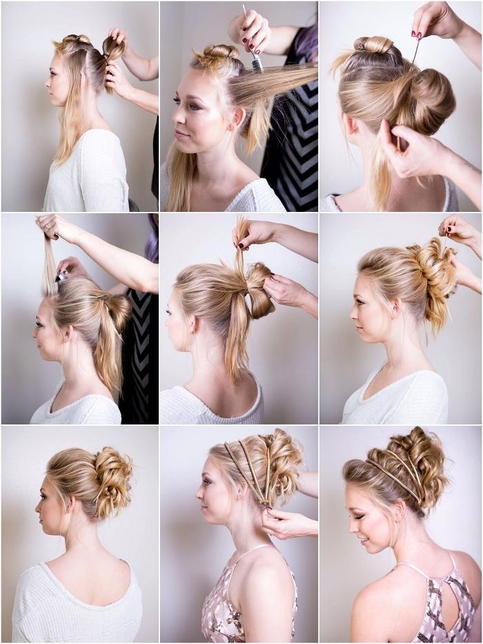 comment faire un chignon haut décoiffé, coiffure pour occasion spéciale avec chignon torsadé ornée d'un bijou à cheveux
