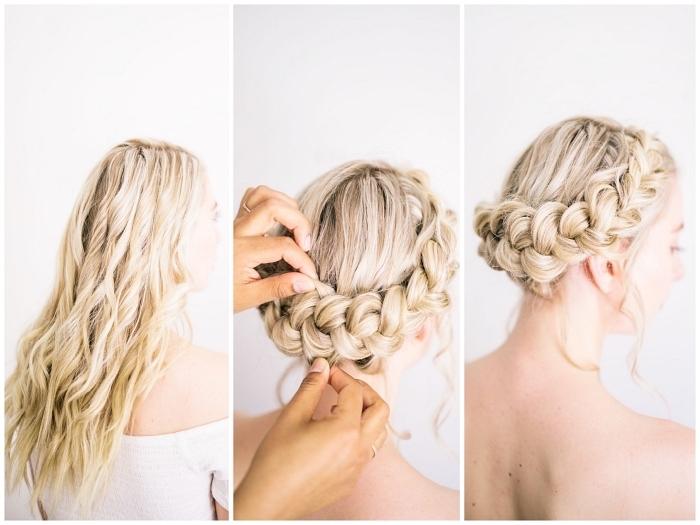 coiffure bohème chic réalisée avec tresse sur le côté, chignon tressé sur cheveux longs ondulés couleur blonde