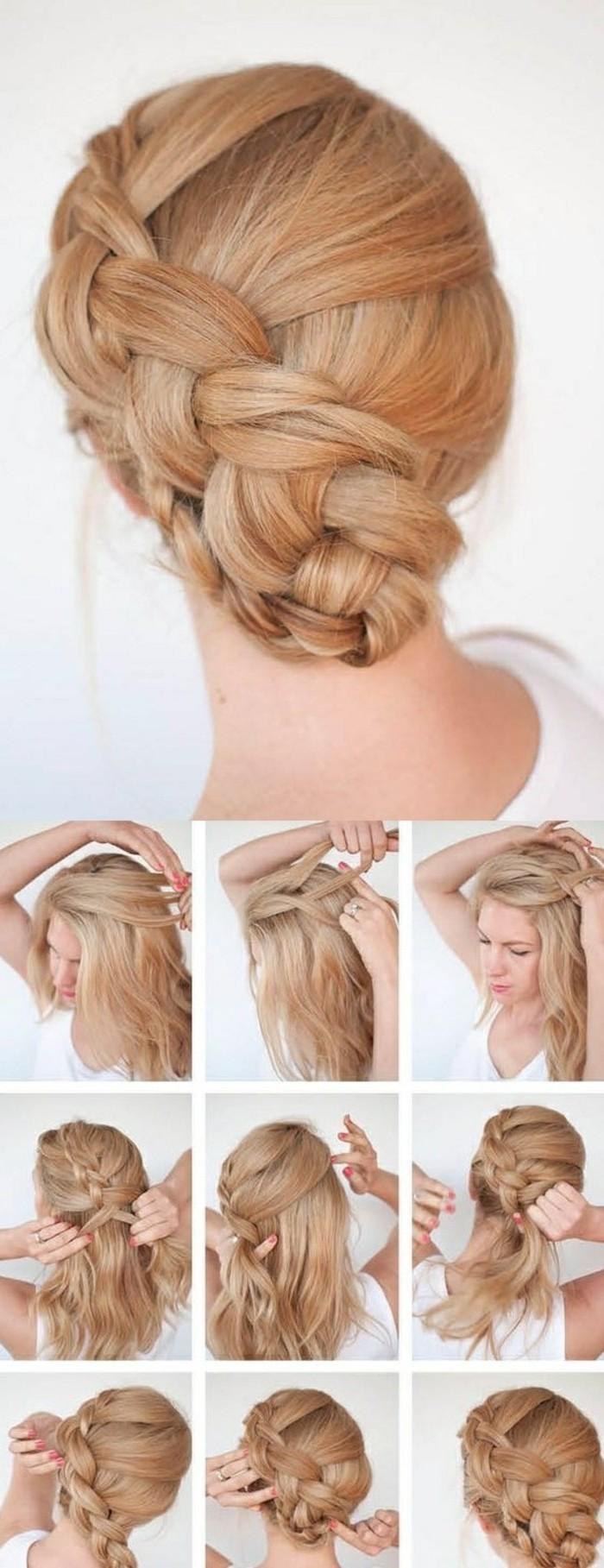 chignon tressé bas avec une tresse de côté sur cheveux blond, modele de coiffure avec tresse sur cheveux