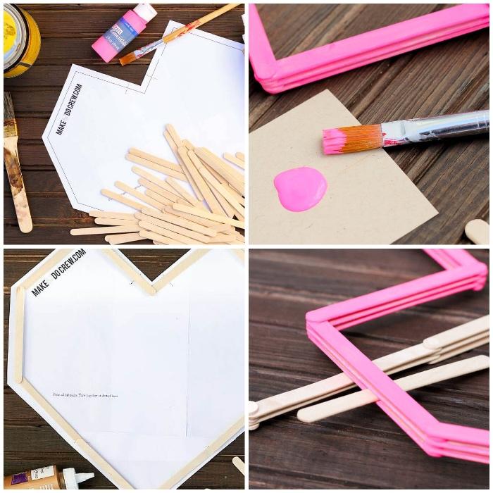 fabriquer des coeurs en batons et carton, peindre des bâtons en couleur rose