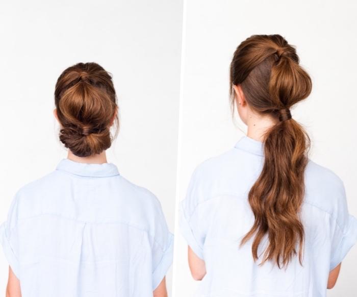 modele de coiffure facile a faire soi meme, queue de cheval nouée de deux élastiques, doubles queue de cheval et cheveux bombés au centre