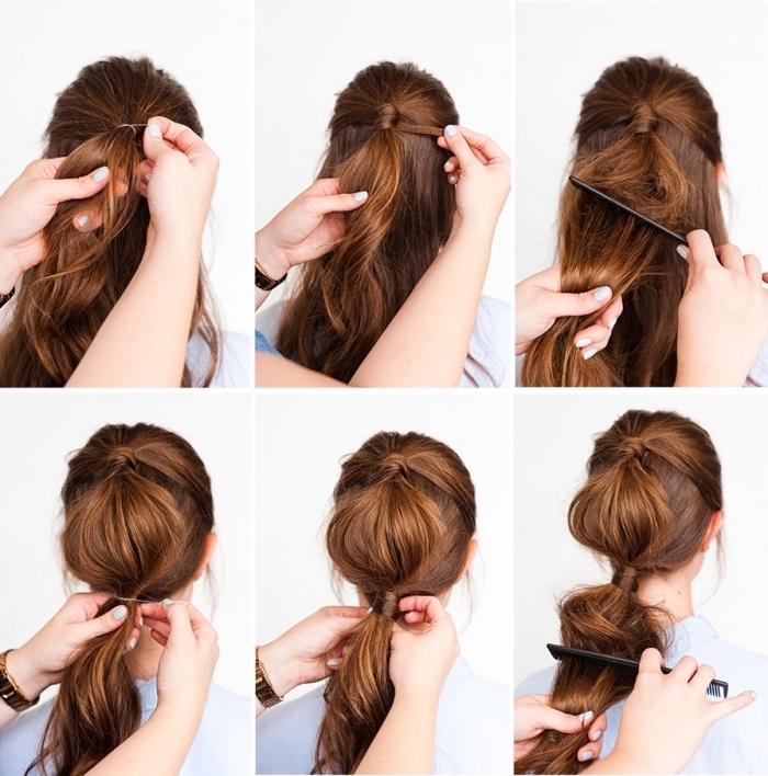 coiffure simple cheveux long, tuto coiffure femme avec une partie centrale de cheveux bombés, double queue de cheval crêpée