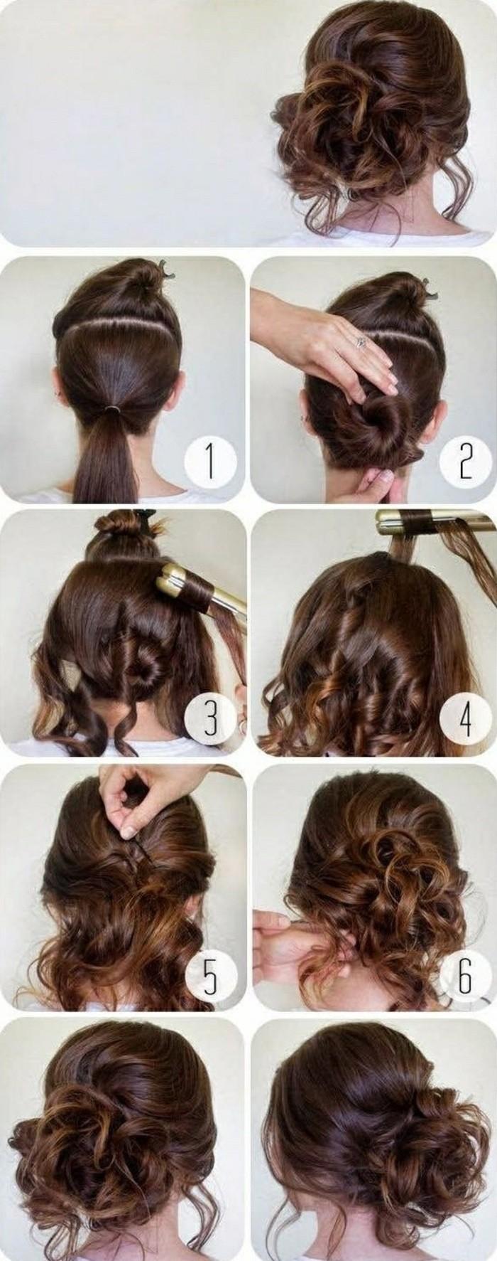 chignon coiffé décoiffé avec des boucles et mèches bouclées autour du visage, volume sur le dessus, coiffure avec extension de cheveux