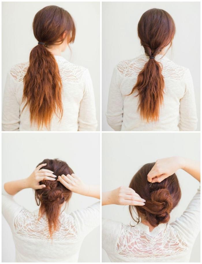 comment faire un chignon bas femme à partir une queue de cheval basse, idée coiffure cheveux long