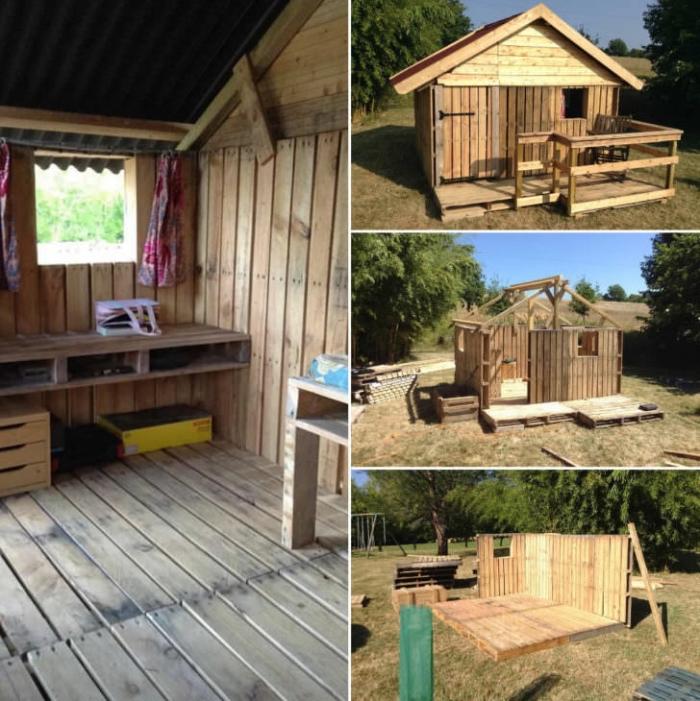 modèle de cabane palette, idée aménagement maison bois avec meubles en palettes DIY, idée construction en palette pour jardin