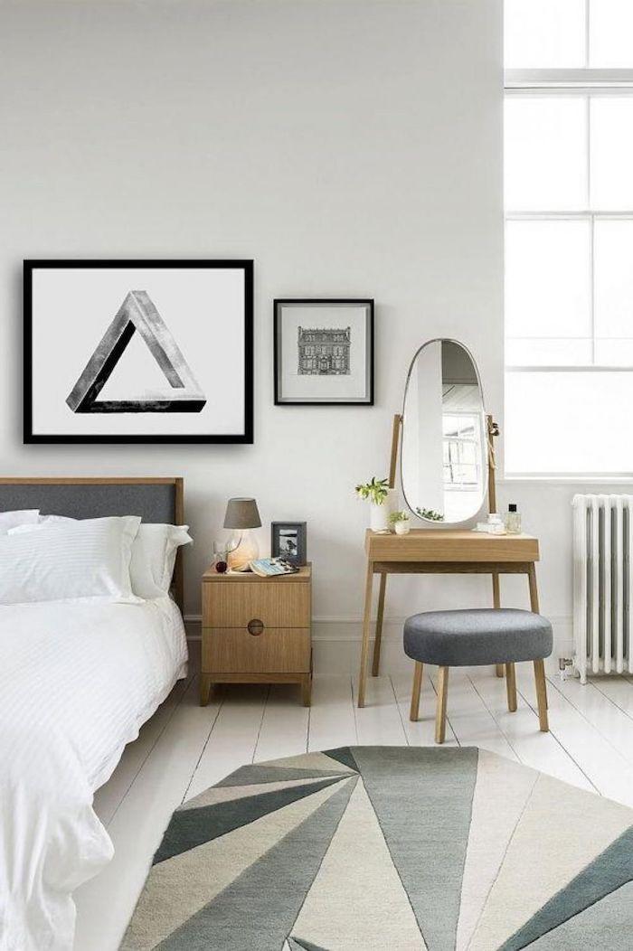 Chambre simple joliment rangé style vintage chic, astuce rangement chambre, inspiration chambre à coucher adulte