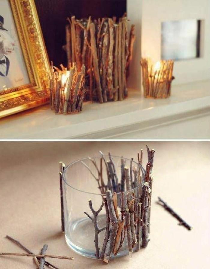 activité manuelle facile, exemple de bougeoir diy facile en verre avec matériaux naturels, cadeau meilleure amie fait maison