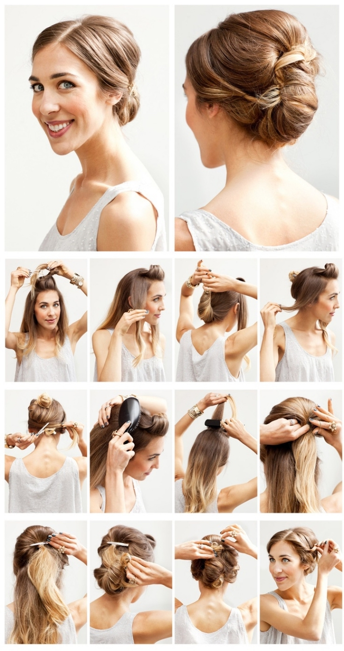 comment faire un chignon original à partir une demi queue de cheval sur cheveux longs crêpés sur le dessus
