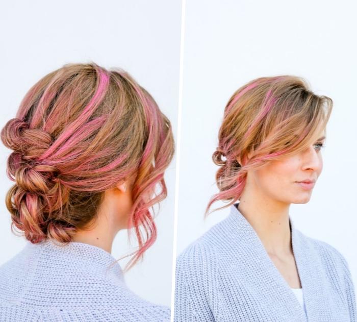 chignon banane tressé flou sur chevelure chatain clair à mèches de cheveux rose, mèches bouclées encadrant le visage