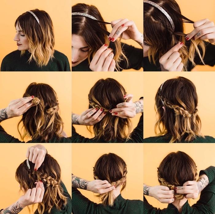 tutoriel pour faire un chignon cheveux court facile à partir de deux tresses, chignon tressé sur carré mi-long ondulé