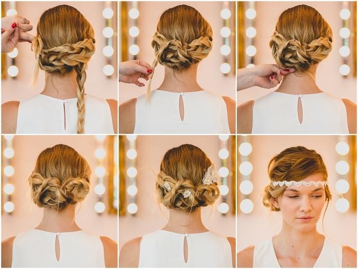 comment faire un chignon de mariée facile avec des tresses assemblées en bas de la nuque, coiffure de mariée bohème chic orné de headband vintage