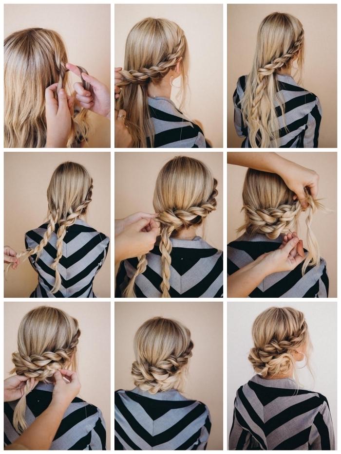 comment faire un chignon tressé bohème chic sur cheveux longs, coiffure romantique avec cheveux tressés