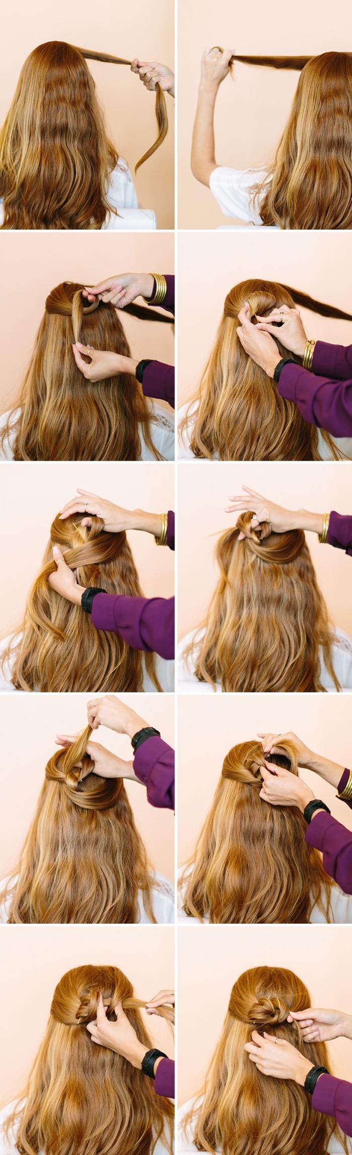 une coiffure féminine avec les mèches de côté, mèches entortillées en arrière de la tête pour en faire une rose de cheveux