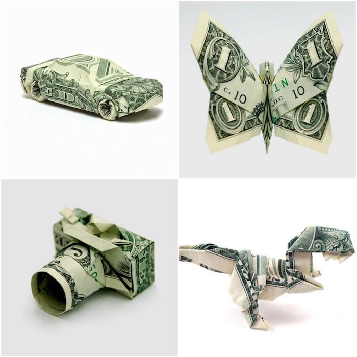 Argent plié pour faire une forme, idée comment offrir de l'argent, idée cadeau mariage, cadeau fait main, couple romantique