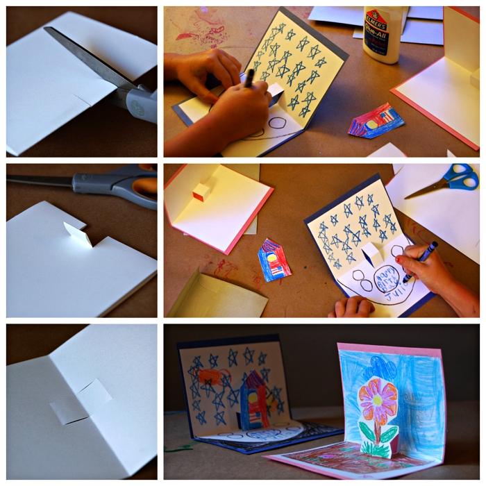 tutoriel pas à pas pour fabriquer une carte pop-up fleur pour la fête des mères, activité manuelle facile en maternelle à l'occasion de la fête des mères