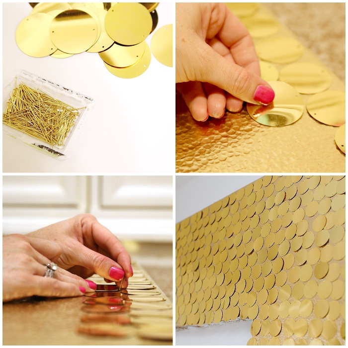 décoration murale design, déco avec lamelles métalliques dorées, déco murale à faire soi-même