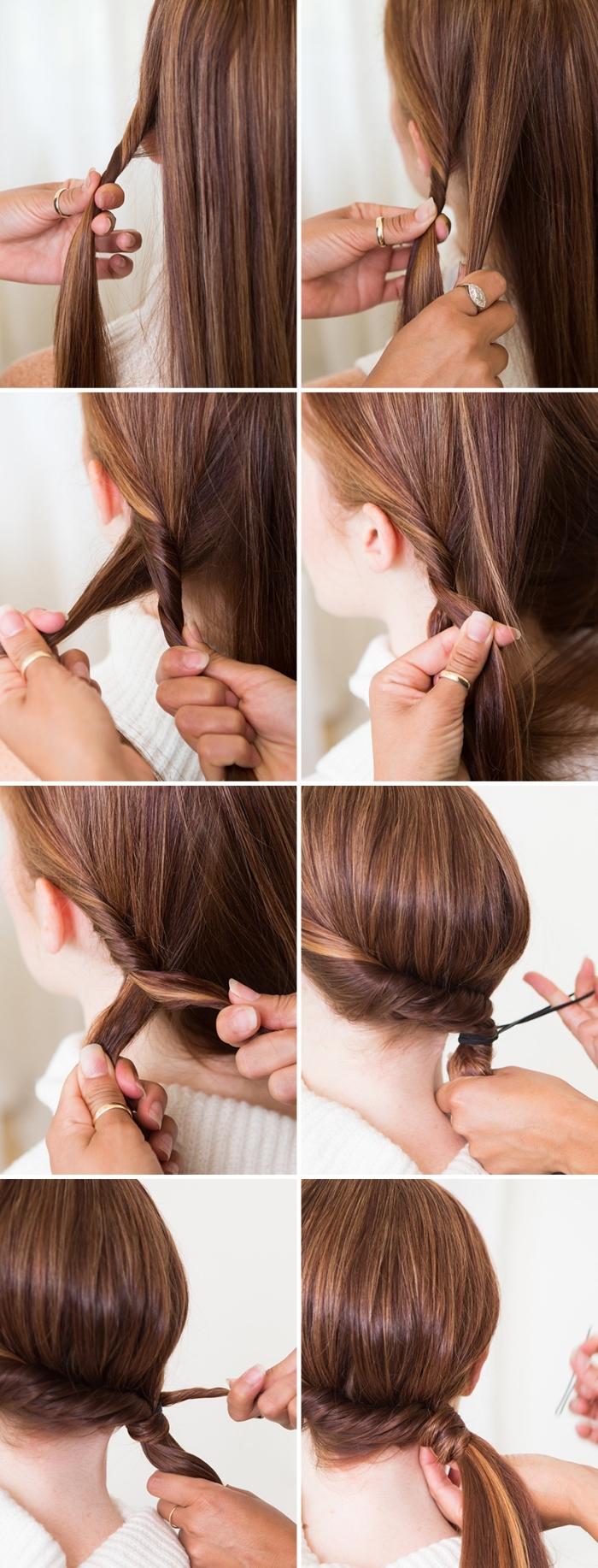 mèches de cheveux entortillées pour réaliser une coiffure facile cheveux long, tuto queue de cheval de coté