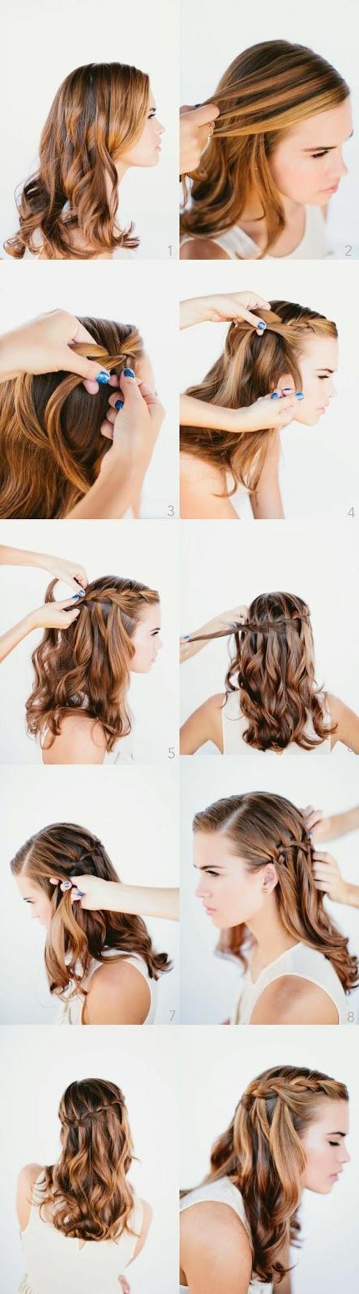 tuto tresse en cascade à faire soi meme étape par étape, coiffure facile cheveux mi long, femme aux mèches blond foncé sur cheveux chatain