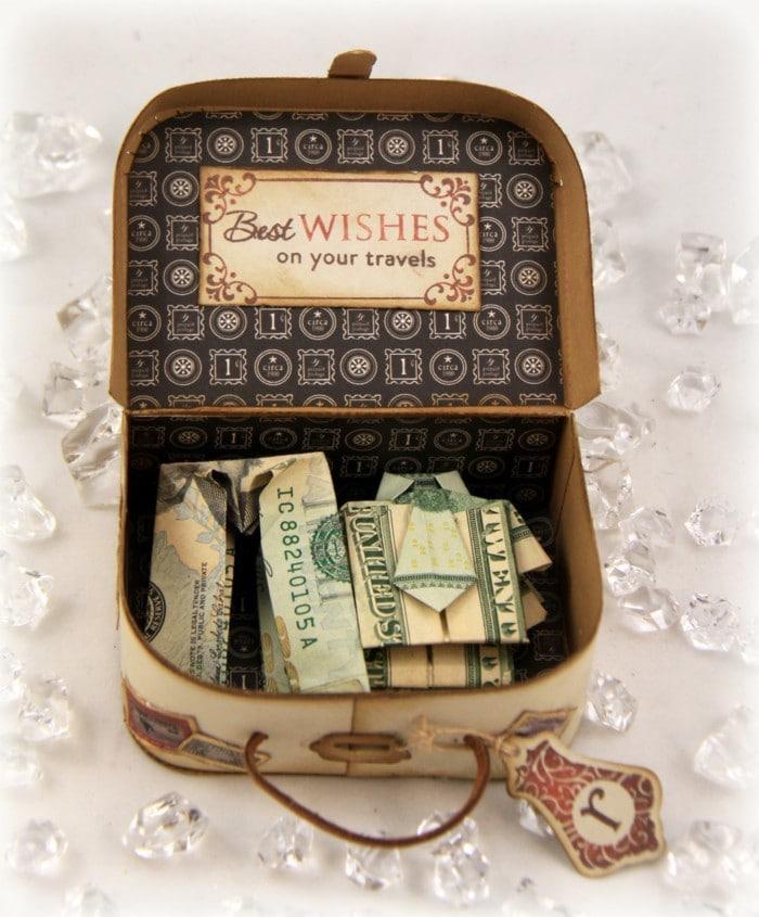 Cadeau argent petit valise miniature avec vetements d'argent, mariage coffret cadeau couple, cadeau fait main mariage