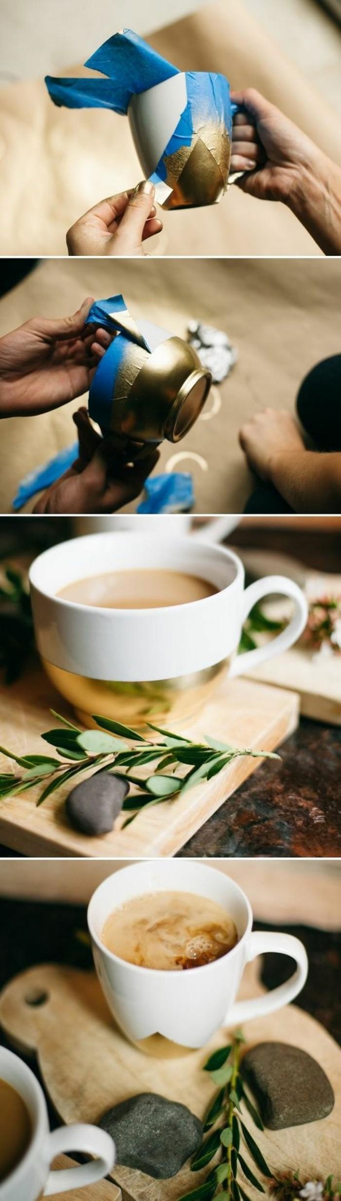 décoration tasse de café à la maison, diy tasse de café blanche décorée avec peinture dorée, idée cadeau meilleure amie