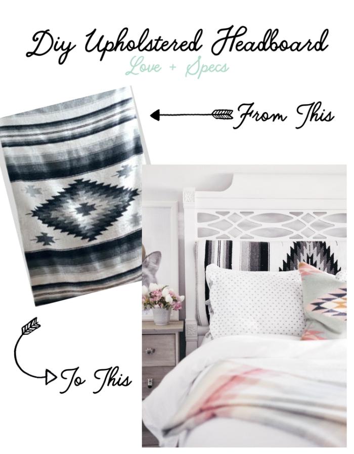 idée relooking meuble bois dans la chambre à coucher, personnaliser une tete de lit en tissu motifs géométriques