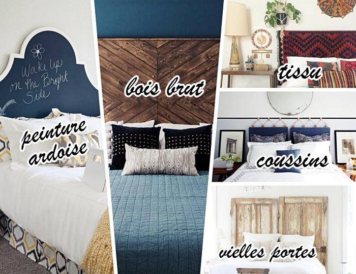 fabriquer une tete de lit palette facile, modèle tête de lit avec peinture ardoise, design intérieur de style bohème
