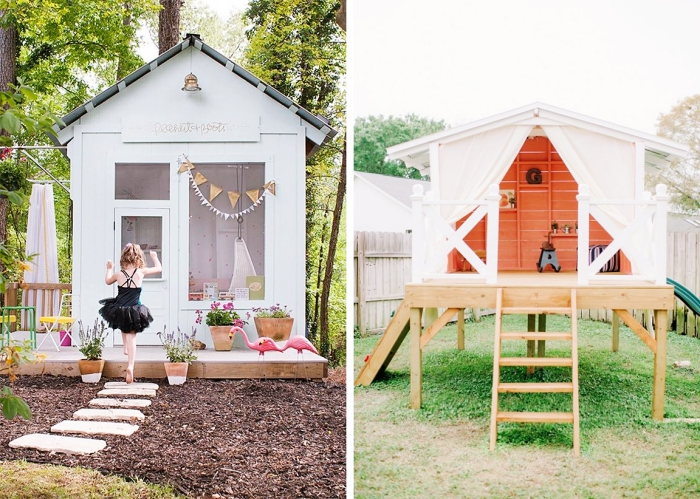 faire une cabane palette ou bois soi-même, modèle abri extérieur pour jeux d'enfant avec terrasse en bois et échelle