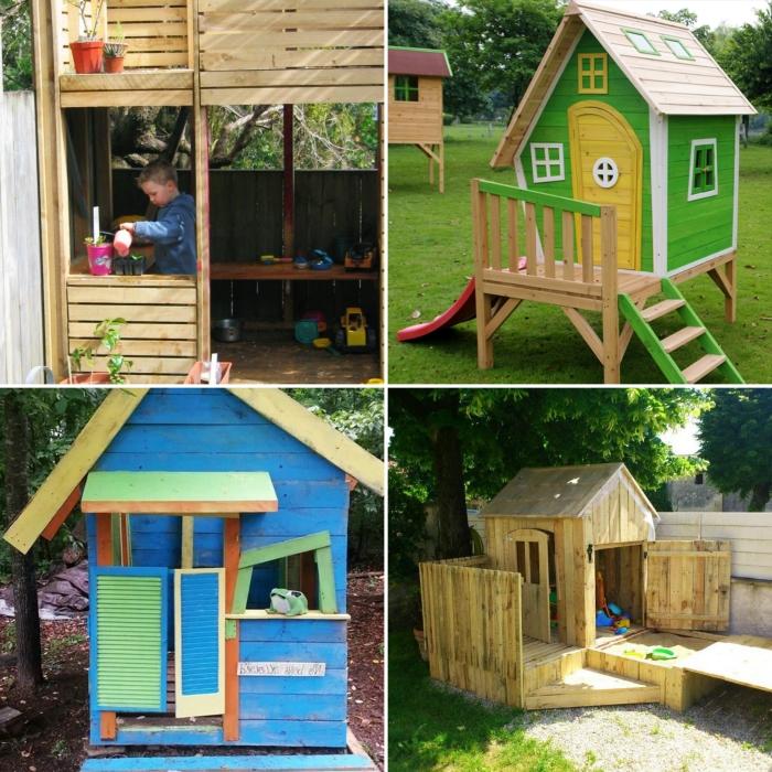 comment construire une cabane avec des palettes, modèle petite maison en bois à façade vert et jaune avec échelle