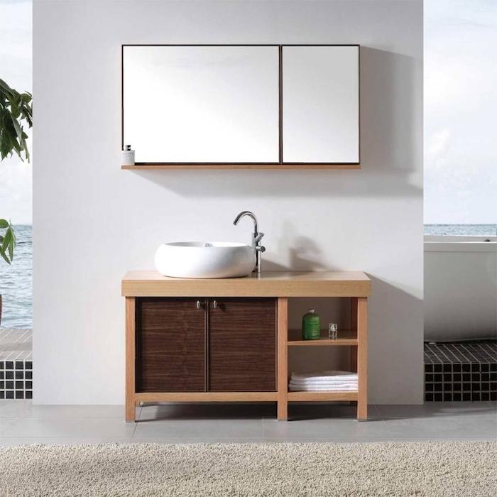 Placard avec miroir grand, salle de bain noir et bois, salle de bain moderne et simple, lavabo ronde