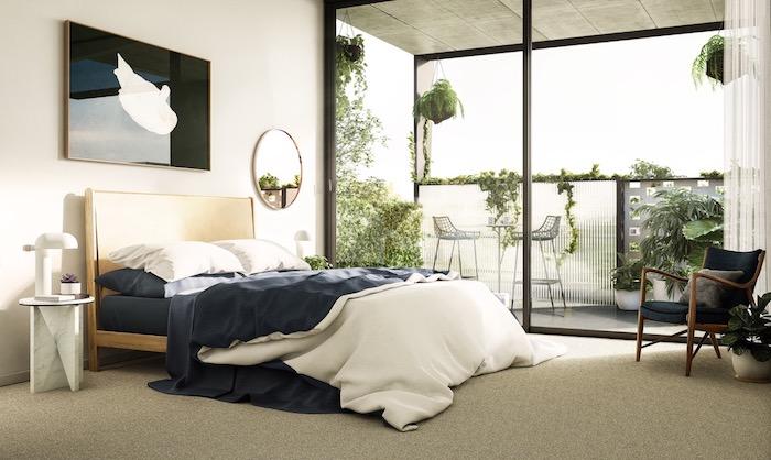 Belle chambre appartement dans la ville, tableau noir avec dessin blanc, balcon joliment décoré, meuble de rangement, astuce rangement chambre ado ou adulte