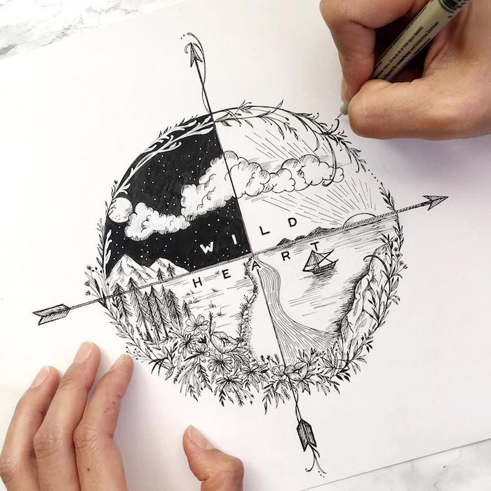 Voyage tatouage dessin les saisons et les directions du monde, modele tatouage, être swag et se tatouer