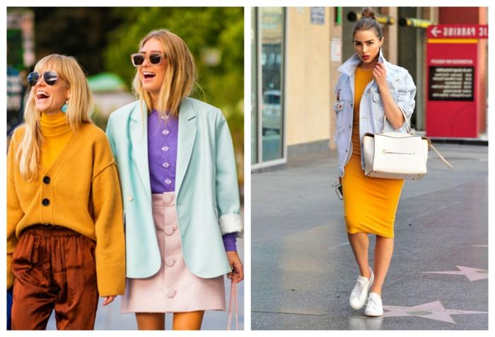 tenues eb style rétro, jupe rose, pantalon marron, sneakers blancs, robe jaune moulante et veste denim