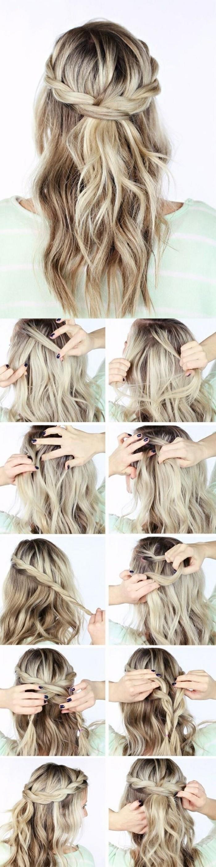 comment faire une couronne de tresse autour de la tête sur cheveux à mèches blondes ondulées