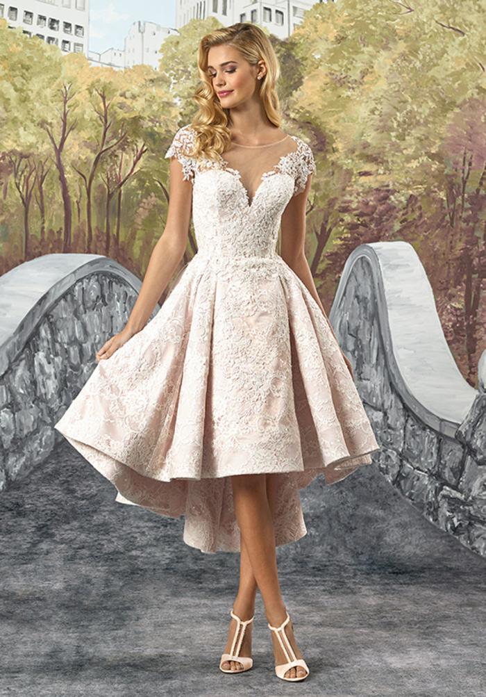 Mi longue robe de mariée princesse disney, classe robe de mariage moderne en dentelle avec bustier et top à couvrir les épaules en dentelle