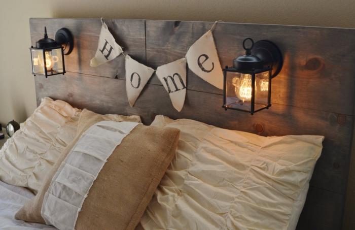 exemple de tete de lit a faire soi meme, matériaux pour une tête de lit diy, exemple chambre à coucher taupe
