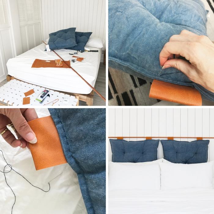 idee tete de lit fait main, exemple comment faire une tête de lit avec coussins, activité manuelle pour décorer la chambre ado