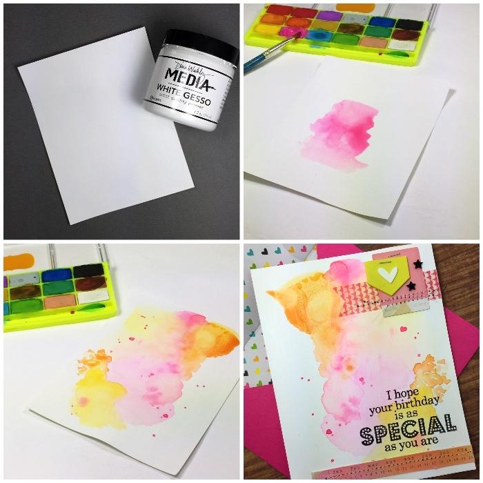 tutoriel pour personnaliser une carte de voeux aquarelle, carte d'anniversaire fille à effet tâches d'aquarelle en nuances du rose et du jaune