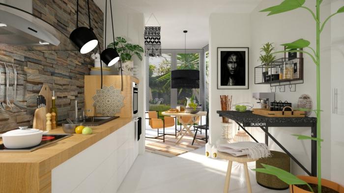 cuisine blanche et bois, cuisine veranda scandinave, table à rabat, sol en planches blanches, comptoir de cuisine en bois