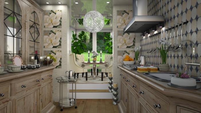 jolie cuisine couleurs claires, placards de cuisine bois, plafonnier rond, veranda cuisine
